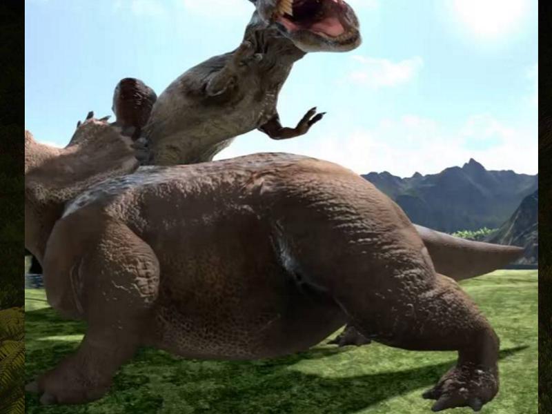 VR動画で見るティラノサウルスとトリケラトプスの迫力バトル!